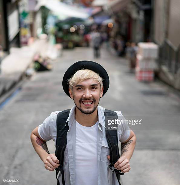 Male traveler in Hong Kong