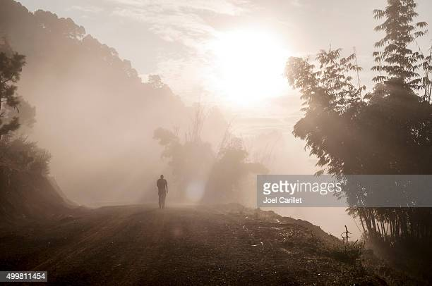 Male traveler trekking at sunrise in misty forest in Burma