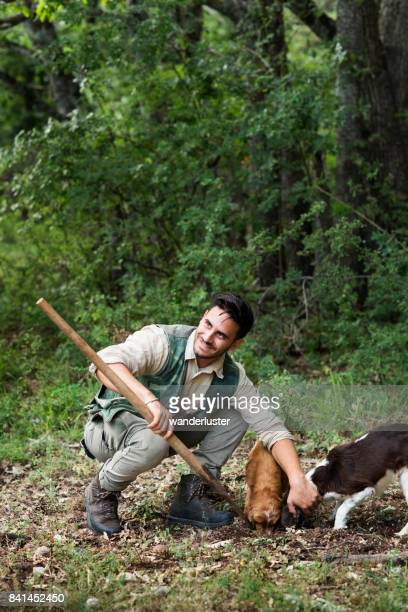 Male truffle hunter in 20's squats beside his two dogs that are sniffing and digging out truffles and assists with his vanghella tool in the woods on a summer day, Abruzzo, Italy, Europe