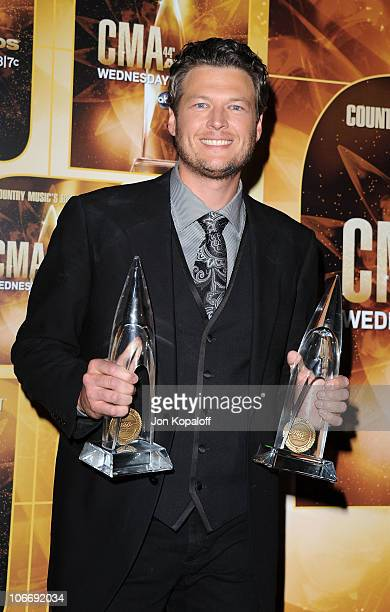 Male Vocalist of the Year and Musical Event of the Year winner Blake Shelton attends the 44th Annual CMA Awards at the Bridgestone Arena on November...