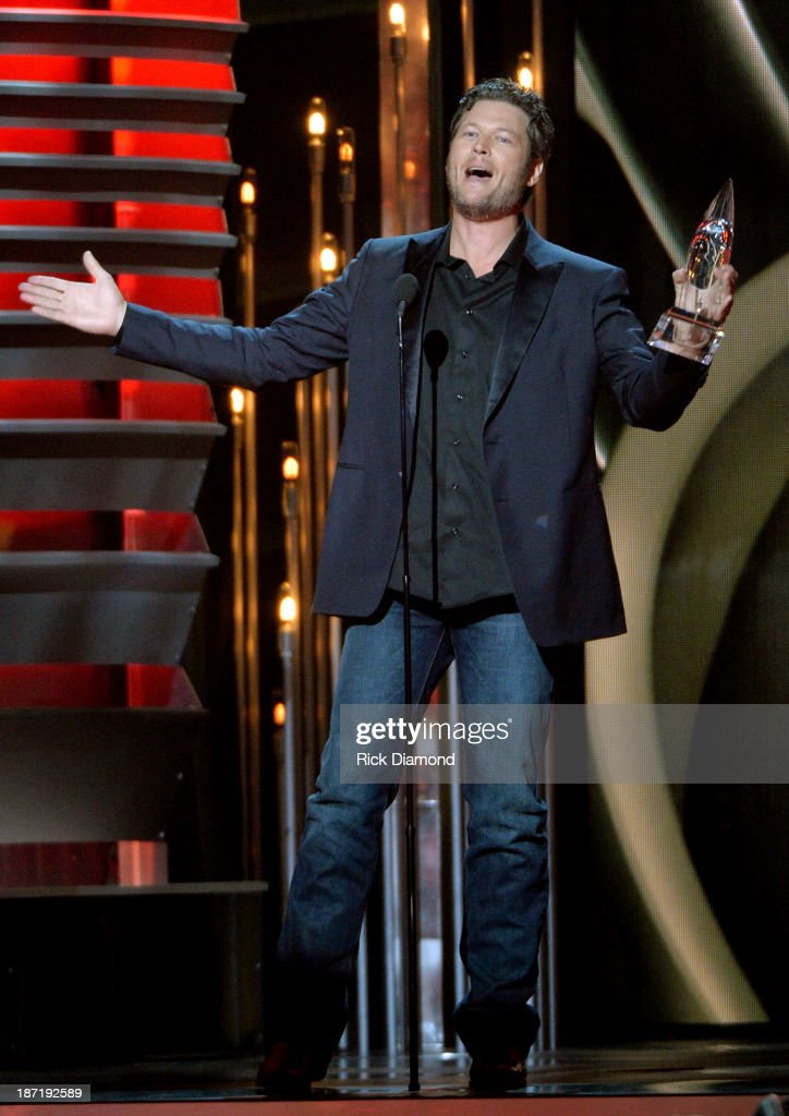 Male Vocalist of the Year award winner <a gi-track='captionPersonalityLinkClicked' href=/galleries/search?phrase=Blake+Shelton&family=editorial&specificpeople=2352026 ng-click='$event.stopPropagation()'>Blake Shelton</a> speaks onstage during the 47th annual CMA awards at the Bridgestone Arena on November 6, 2013 in Nashville, United States.