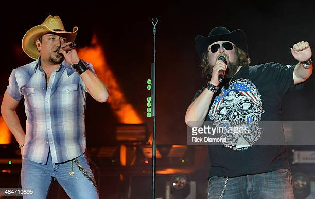 Male Vocalist of the Year Jason Aldean is joined on stage by Singer/Songwriter Colt Ford at Country Thunder USA In Florence Arizona Day 4 on April 13...
