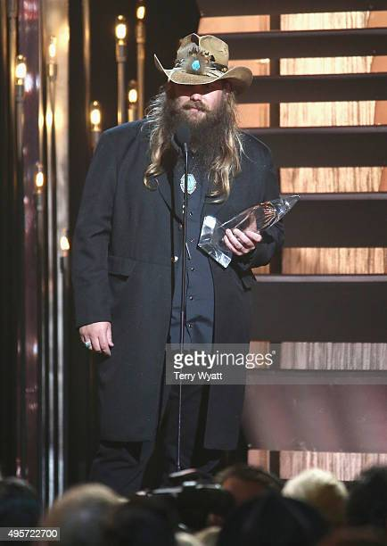 Male Vocalist of the Year winner Chris Stapleton speaks onstage at the 49th annual CMA Awards at the Bridgestone Arena on November 4 2015 in...