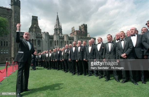 A male voice Choir performs for Emperor Akihito during his visit to Wales