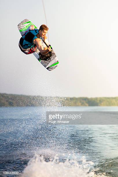 Male wakeboarder in air