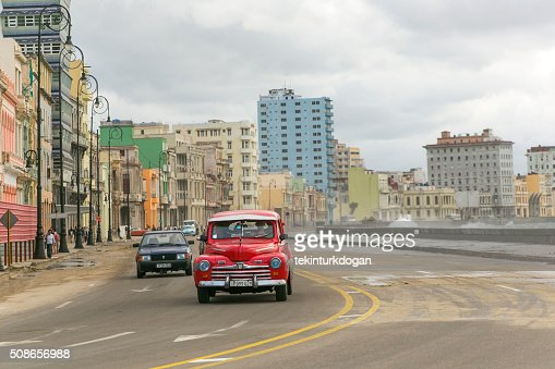 Malecon carabean ocean coast in havana cuba : Stock Photo