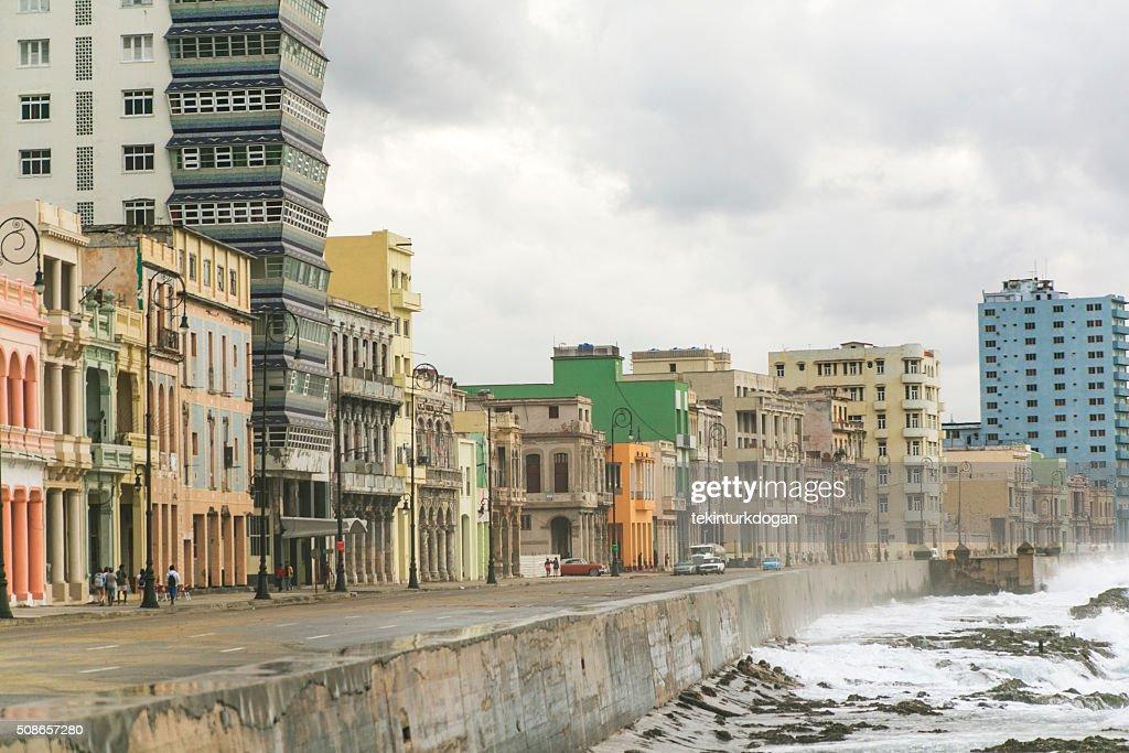 Malecon street at carabean ocean coast of havana cuba : Stock Photo