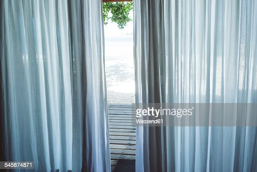 Maledives, Ari Atoll, curtain of bungalow