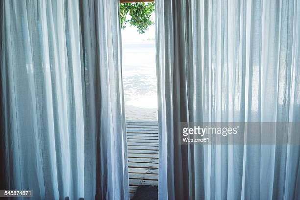 Maledives, Ari Atoll, curtain of bungalow