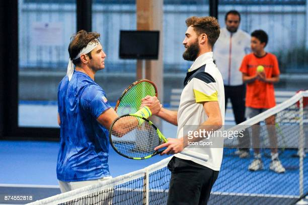Malek Jaziri of Boulogne and Benoit Paire of Colomiers during the French Team Championships match between Boulogne Billancourt and Colomiers on...