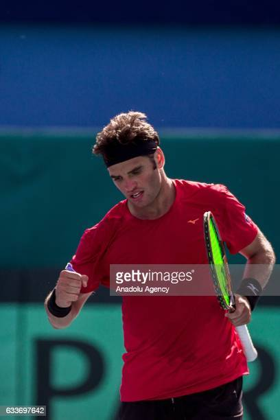 Malek Jaziri of Tunisia gestures during his second round doubles match of the Davis Cup's Europe and Africa Zone against Isak Arvidsson of Sweden at...