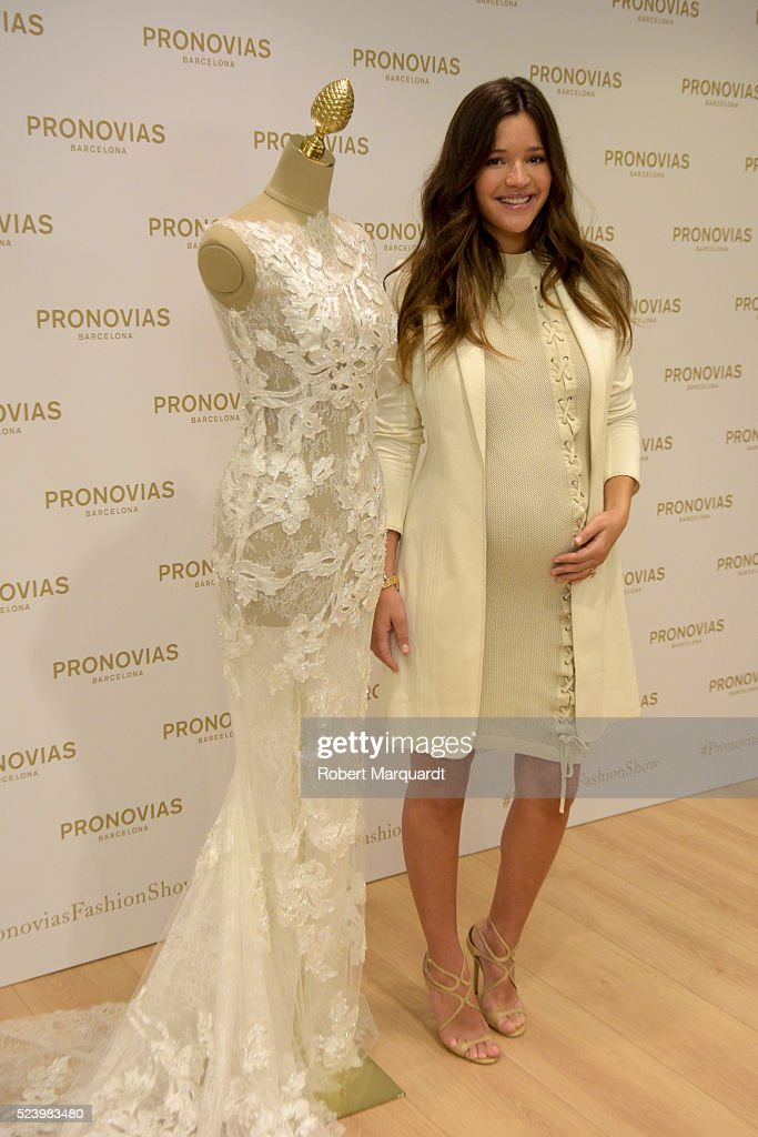 Malena Costa poses during a photocall for the 'Pronovias' Barcelona Bridal week fitting on April 25 2016 in Barcelona Spain