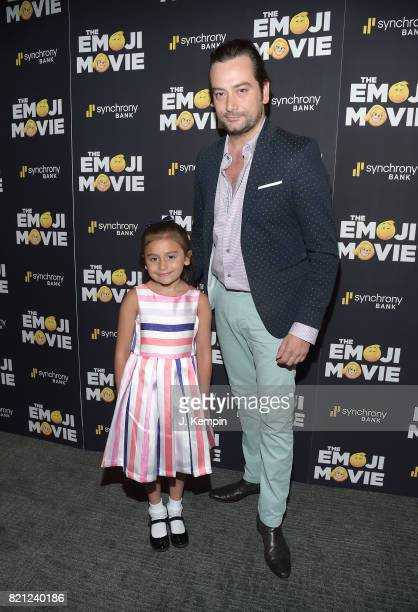 Malena James ReedMaroulis and Constantine Maroulis attend 'The Emoji Movie' New York Screening at New York Institute of Technology on July 23 2017 in...