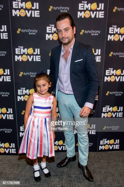 Malena James ReedMaroulis and Constantine Maroulis attend 'The Emoji Movie' special screening at NYIT Auditorium on Broadway on July 23 2017 in New...