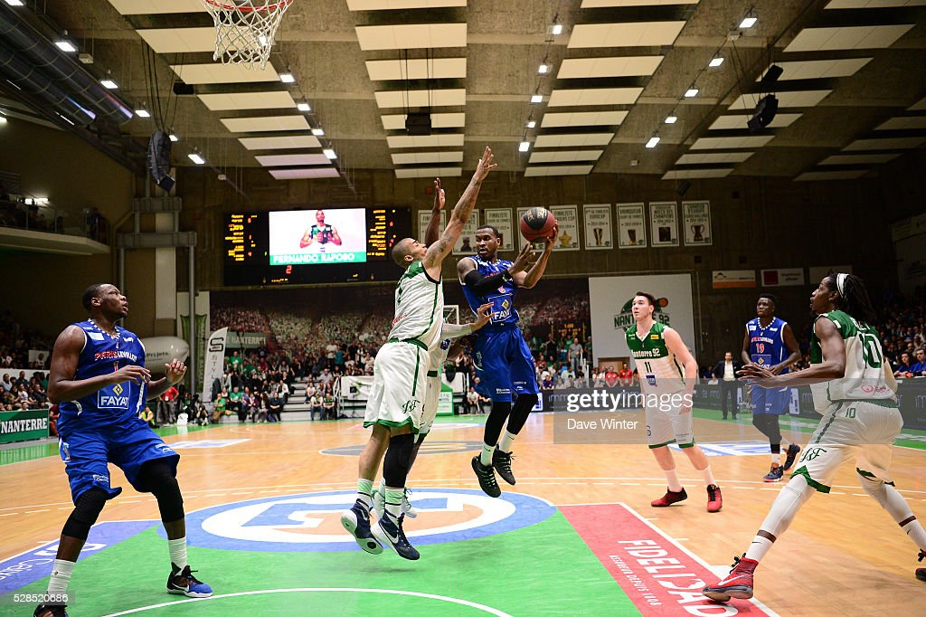 Maleye Ndoye of Paris Levallois and Fernando Raposo of Nanterre during the basketball French Pro A League match between Nanterre and Paris Levallois on May 5, 2016 in Nanterre, France.