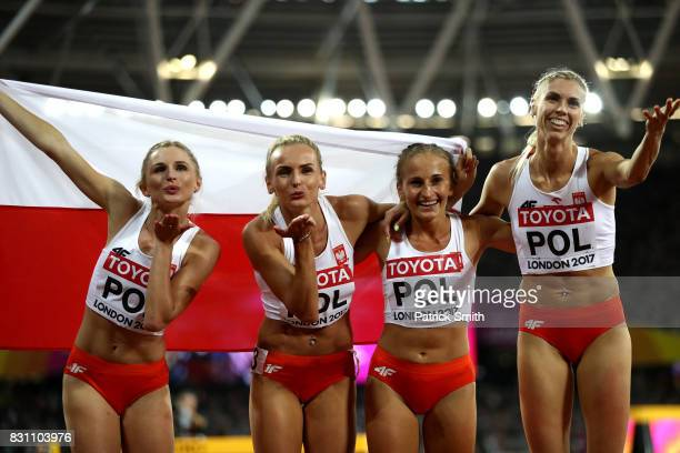 Malgorzata Holub Iga Baumgart Aleksandra Gaworska Justyna Swiety of Poland celebrate winning bronze in the Women's 4x400 Metres Relay final during...