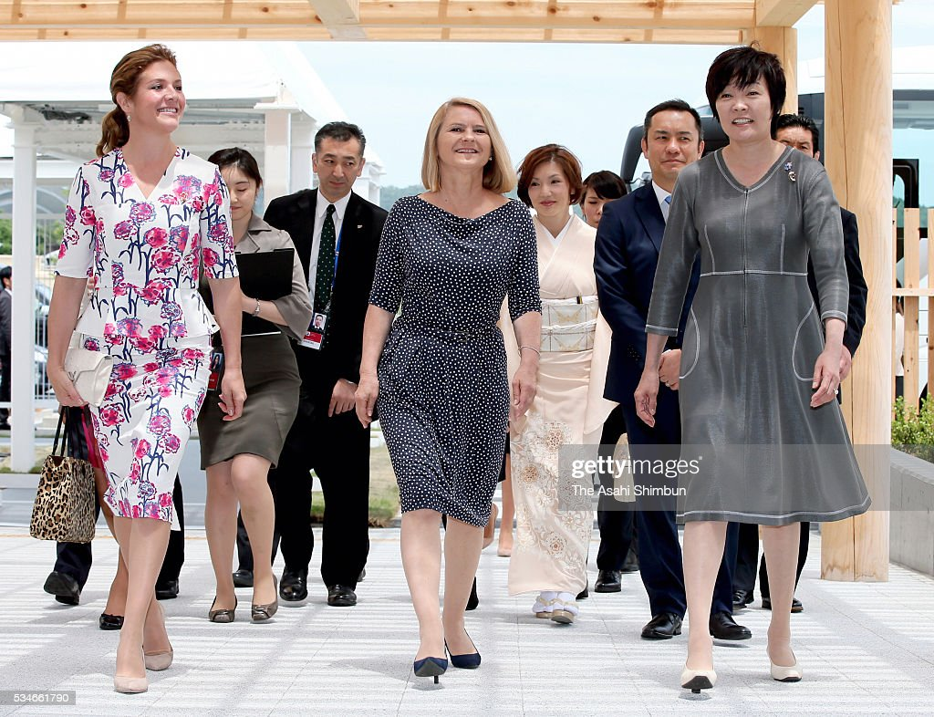 Malgorzata Tusk (C), wife of European Council President Donald Tusk, <a gi-track='captionPersonalityLinkClicked' href=/galleries/search?phrase=Akie+Abe&family=editorial&specificpeople=2042808 ng-click='$event.stopPropagation()'>Akie Abe</a> (R), wife of Japanese Prime Minister Shinzo Abe and Sophie Gregoire-Trudeau (L), wife of Canadian Prime Minister Justin Trudeau are seen on arrival at the International Media Center as a spouse program during the Group of Seven summit at Ise Shrine on May 27, 2016 in Ise, Mie, Japan. The 2-day Group of Seven summit takes place to discuss key global issues such as global economy and counter terrorism measures.