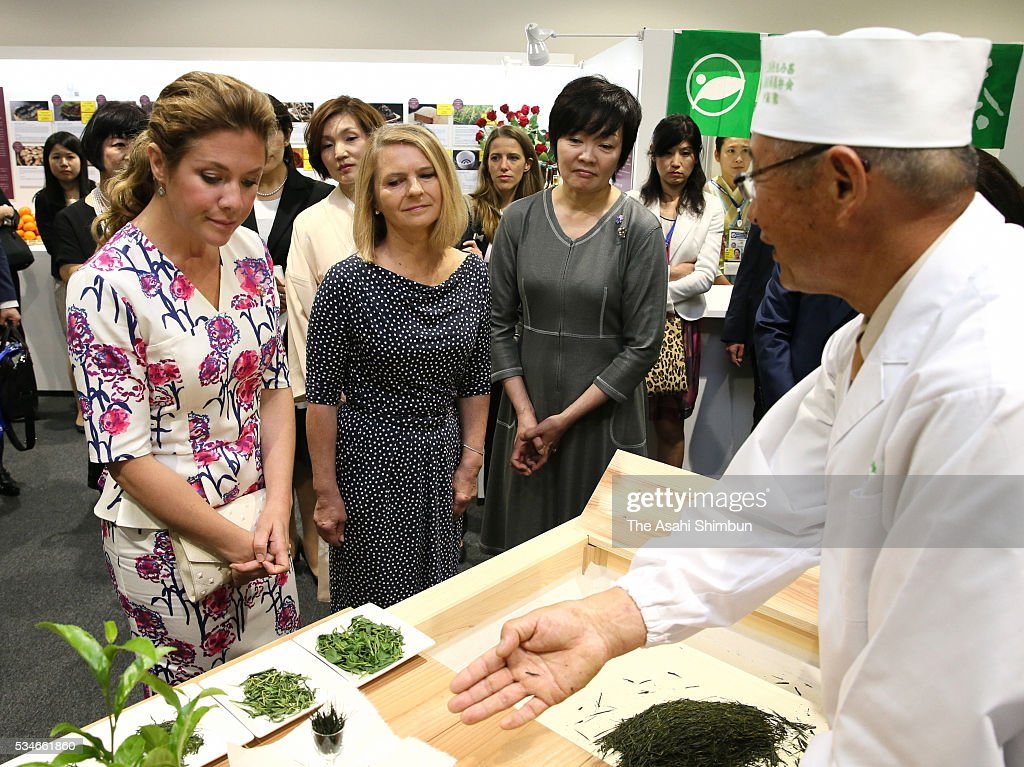 Malgorzata Tusk (C), wife of European Council President Donald Tusk, Akie Abe (R), wife of Japanese Prime Minister Shinzo Abe and Sophie Gregoire-Trudeau (L), wife of Canadian Prime Minister Justin Trudeau listen to the explanation of the 'Ise-Cha' specialty green tea from the region as a spouse program at the International Media Center during the Group of Seven summit at Ise Shrine on May 27, 2016 in Ise, Mie, Japan. The 2-day Group of Seven summit takes place to discuss key global issues such as global economy and counter terrorism measures.