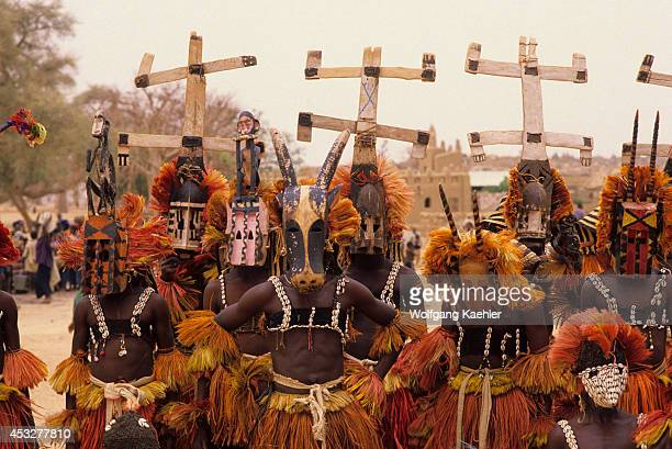 Mali Dogon Country Sanga Village Dogon Dancers With Traditional Masks