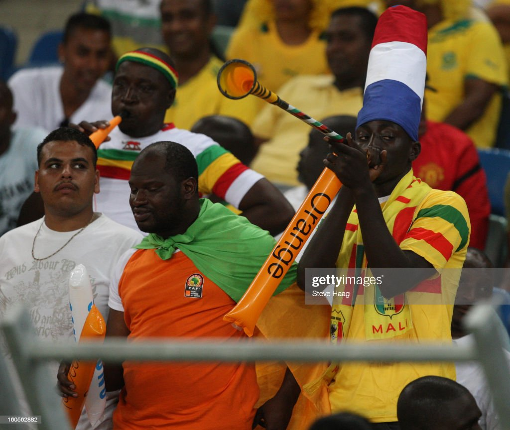A Mali fan during the 2013 African Cup of Nations Quarter-Final match between South Africa and Mali at Moses Mahbida Stadium on February 2, 2013 in Durban, South Africa.