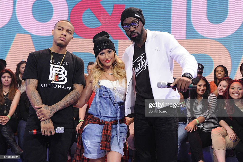 Mali Music with hosts <a gi-track='captionPersonalityLinkClicked' href=/galleries/search?phrase=Bow+Wow+-+Rapper&family=editorial&specificpeople=211211 ng-click='$event.stopPropagation()'>Bow Wow</a> and <a gi-track='captionPersonalityLinkClicked' href=/galleries/search?phrase=Adrienne+Bailon&family=editorial&specificpeople=540286 ng-click='$event.stopPropagation()'>Adrienne Bailon</a> at BET's '106 & Park' at BET Studios on June 10, 2013 in New York City.