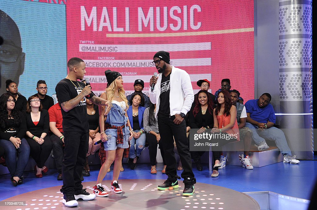 Mali Music with hosts Bow Wow and Adrienne Bailon at BET's '106 & Park' at BET Studios on June 10, 2013 in New York City.