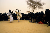 Mali Near Timbuktu Tuareg Camp In Harmattan Dust Storm Traditional Dances