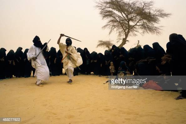 Mali Near Timbuktu Tuareg Camp In Harmattan Dust Storm Traditional Dances