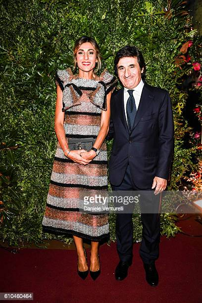 Mali Pelandini and Urbano Cairo attend the DolceGabbana Boutique Opening Event during Milan Fashion Week Spring/Summer 2017 on September 25 2016 in...