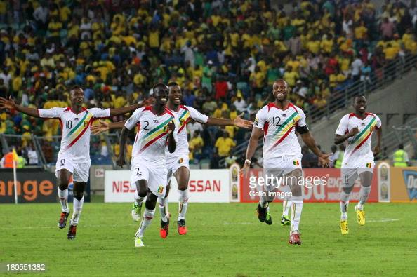 Mali players celebrate vicotry following a penalty shoot out in the 2013 African Cup of Nations Quarter Final 2 match between South Afica and Mali...