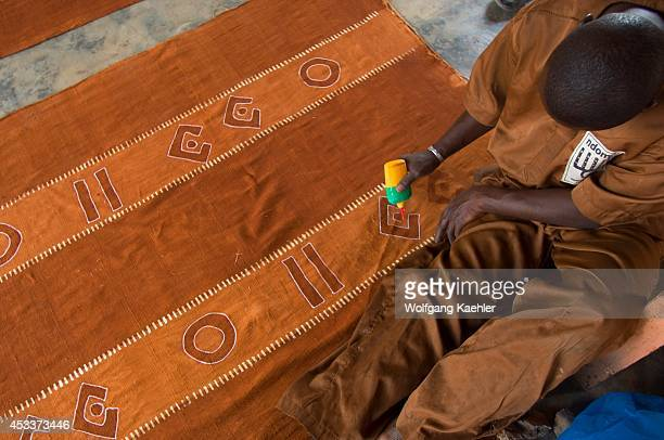 Mali Segou Production Of Traditional Bambara Bogolam Mud Cloth Fabric Being Prepared For Dyeing
