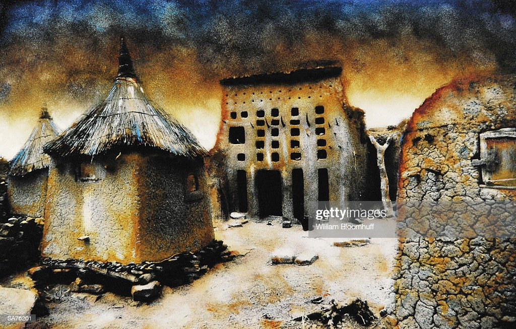 Mali, Shaman's Court of the Dogon Tribe (digital enhancement) : Stock Photo