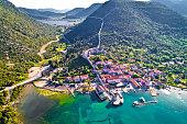 Mali Ston waterfront aerial view, Ston walls in Dalmatia region of Croatia