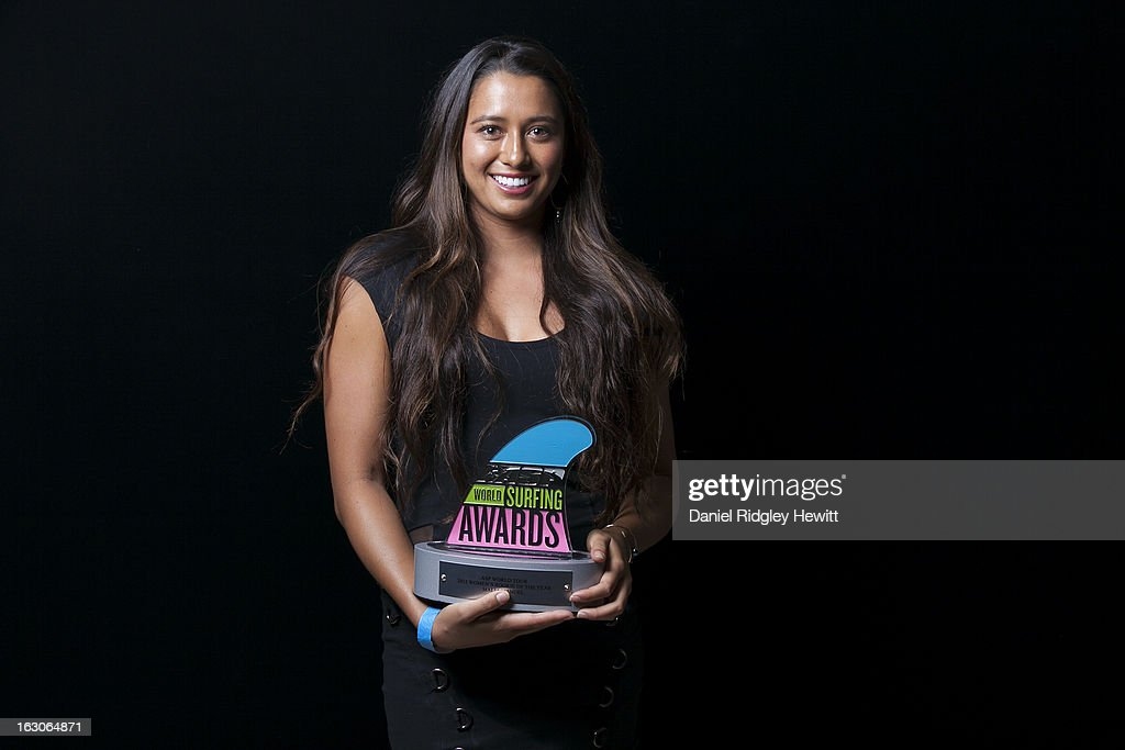 Malia Manuel of the United States of America with her 2012 Rookie of the Year Award Trophy at the 2013 ASP World Surfing Awards on February 28, 2013 in Surfers Paradise, Australia.