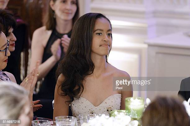 Malia Obama attends a State Dinner at the White House March 10 2016 in Washington DC Hosted by President and First Lady Obama the dinner is in honor...