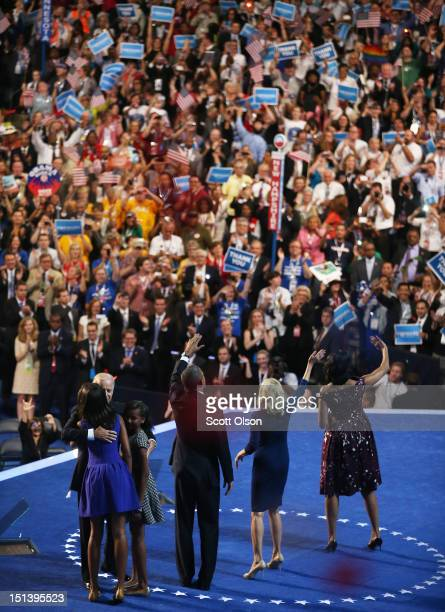 Malia Obama Democratic vice presidential candidate US Vice President Joe Biden Sasha Obama Democratic presidential candidate US President Barack...