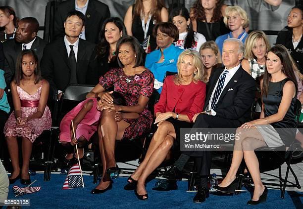Malia Obama Sasha Obama Michelle Obama wife of Democratic US Presidential nominee Sen Barack Obama Jill Biden Democratic US VicePresidential nominee...