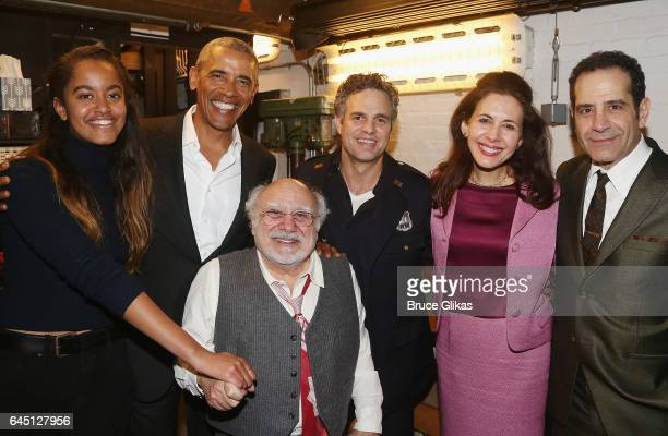 Malia Obama The 44th President of The United States Barack Obama Danny DeVito Mark Ruffalo Jessica Hecht and Tony Shalhoub pose backstage at The...