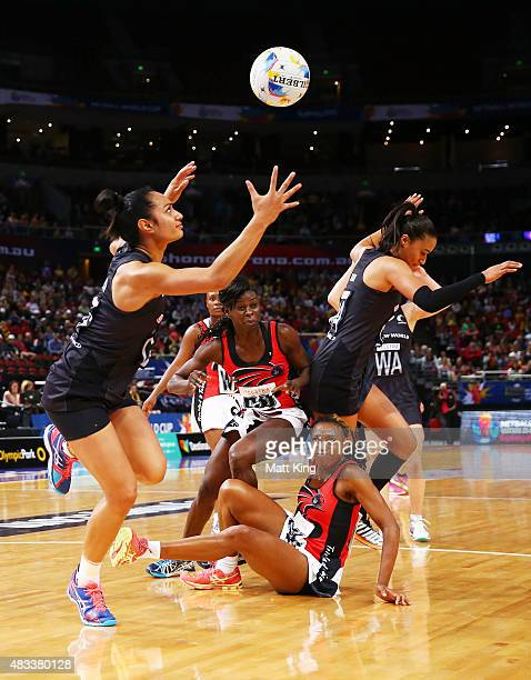 Malia Paseka of New Zealand catches the ball during the 2015 Netball World Cup match between New Zealand and Trinidad Tobago at Allphones Arena on...