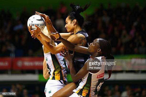 Malia Paseka of the Silver Ferns is put under pressure during the International Test Match between the New Zealand Silver Ferns and the South Africa...