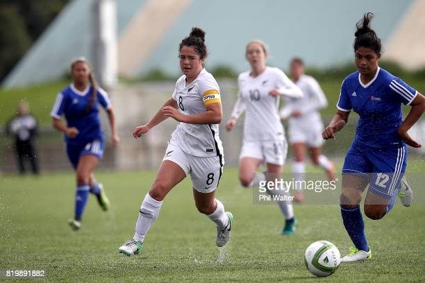 Malia Steinmetz of New Zealand in action during the Oceania U19 Womens Championship match between New Zealand and Samoa at Ngahue Reserve on July 21...