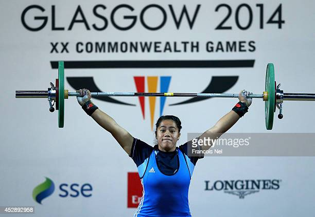 Malia Vea of Niue competes during the Women's 75kg Weightlifting Finals at Scottish Exhibition And Conference Centre during day six of the Glasgow...