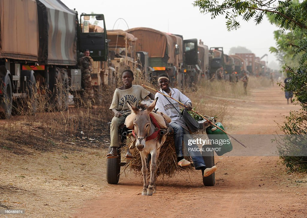 Malian boys ride a horse-drawn carriage as they go past a convoy of French army vehicules and French soldiers arriving in Sevare, in the Mopti region of Mali, on February 1, 2013. President Francois Hollande prepared to visit Mali as French-led troops worked today to secure the last Islamist stronghold in the north after a lightning offensive against the extremists. Hollande, whose surprise decision to intervene in Mali three weeks ago has won broad support at home, will travel to the fabled city of Timbuktu and hold a working lunch in the capital with Mali's interim president Dioncounda Traore, the Malian presidency said.