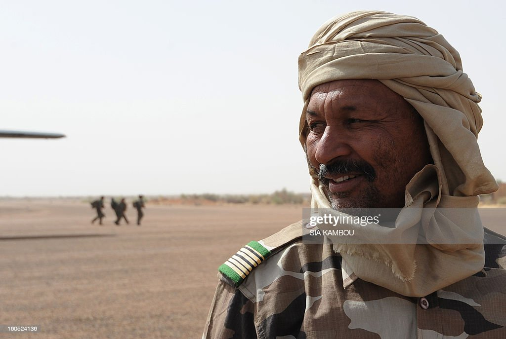 Malian colonel El Hadj Ag Gamou arrives at Gao airport to receive Niger army chief of staff Garba Seini on February 2, 2013 to visit Niger forces. French President Francois Hollande received a rapturous welcome as he visited Mali to push for African troops to take over a French-led offensive that drove back Islamist rebels from the country's desert north.