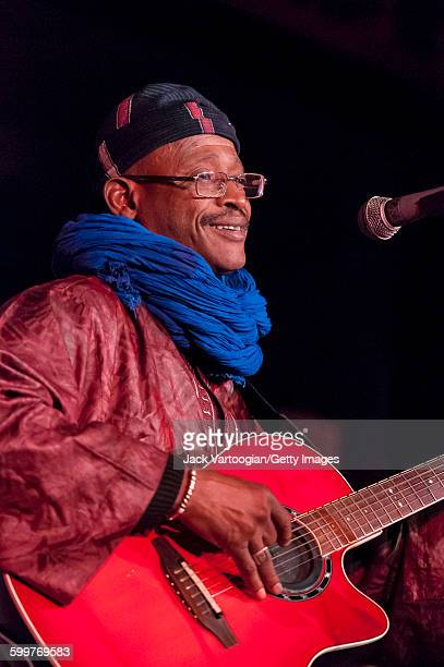Malian musician Afel Bocoum plays acoustic guitar on the Acoustic Africa Tour at BB King Blues Club Grill in Times Square New York New York April 6...