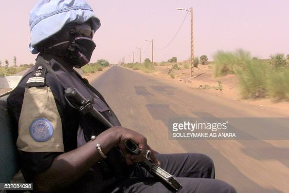 Malian police patrol with German UN mission in Mali peacekeping forces on May 18 2016 in Gao northern mali A highranking Malian military officer and...