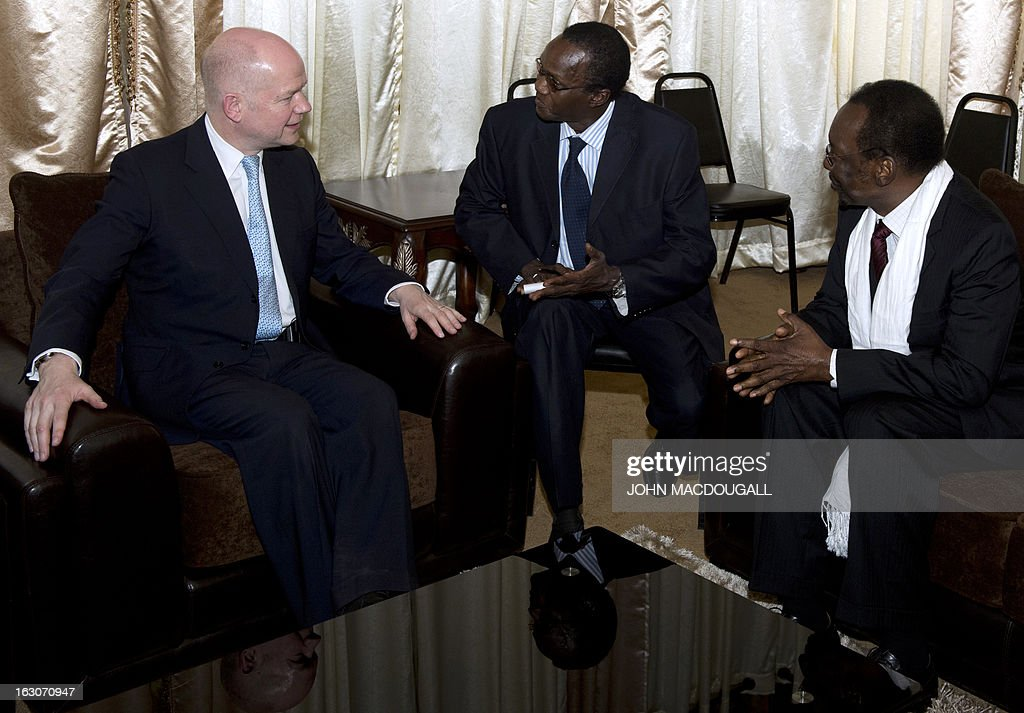 Malian President Dioncounda Traore (R) holds talks with Britain's Foreign Secretary William Hague (L) in Bamako on March 4, 2013. Hague is also expected to meet the Commander of the African-led intervention force (AFISMA) and the deputy Commander of the EU Training Mission to the Malian Armed Forces. Hague arrived in Mali on March 4 for a visit to meet French-backed African troops fighting Islamist militants for control of the west African country. AFP PHOTO / JOHN MACDOUGALL