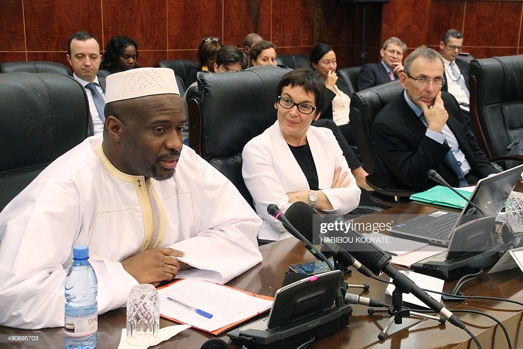 Malian Prime Minister Moussa Mara speaks during a meeting with European commissioner Andris Piebalgs and French secretary of state for development...