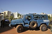 Malian troops take position outside the Radisson Blu hotel in Bamako on November 20 2015 Gunmen have taken 170 hostages including 140 guests and 30...
