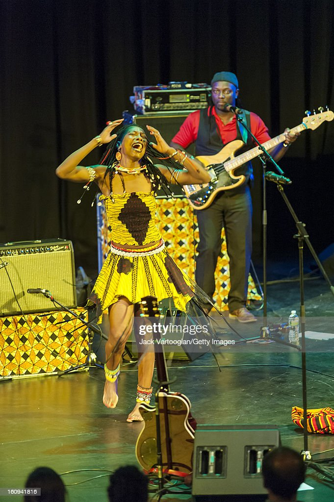 Malian vocalist <a gi-track='captionPersonalityLinkClicked' href=/galleries/search?phrase=Fatoumata+Diawara&family=editorial&specificpeople=6928565 ng-click='$event.stopPropagation()'>Fatoumata Diawara</a> performs at Pace University's Michael Schimmel Center for the Arts, New York, New York, September 28, 2012.